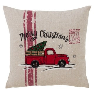 Merry Christmas And Vintage Red Truck Down Filled Throw Pillow