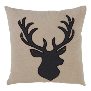 Poly Throw Pillow With Reindeer Silhouette Design And Down Filling