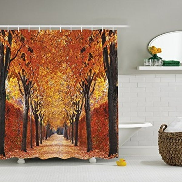 Polyester Fabric Autumn Leaves Shower Curtain With Hooks 72