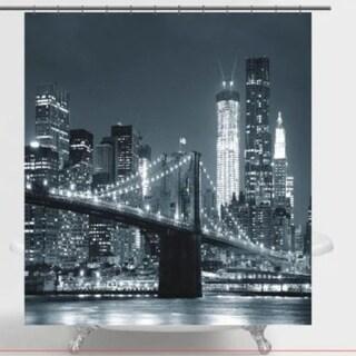 "Polyester Fabric Brooklyn Bridge Shower Curtain 70"" x 72"""