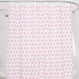 """Polyester Fabric Pink Dot Shower Curtain 70"""" x 72"""""""