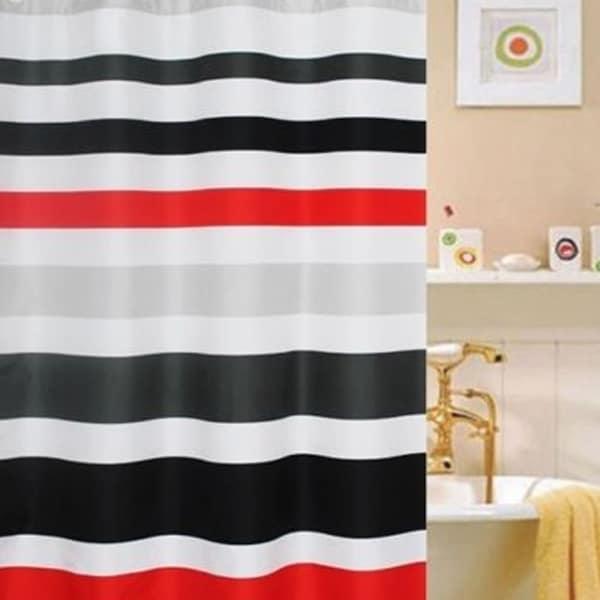 Shop Polyester Fabric Striped Red White And Black Shower Curtain 70 X 72