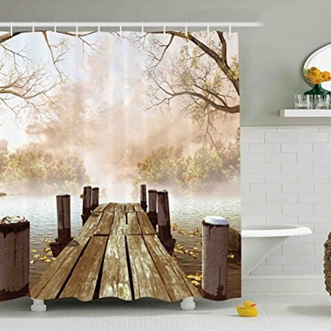 "Polyester Fall Wooden Bridge Shower Curtain with Hooks 70"" x 70"""