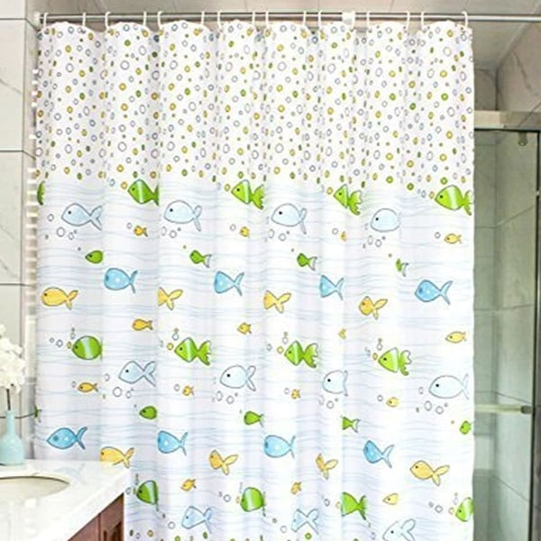 Shop Polyester Fabric Cartoon Fish Shower Curtain With Hooks 72 X