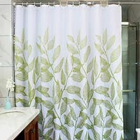 """Polyester Fabric Green Leaves Shower Curtain with Hooks 72"""" x 72"""""""