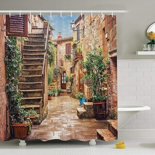 """Polyester Fabric Tuscan City Street Shower Curtain with Hooks 70""""x70"""""""