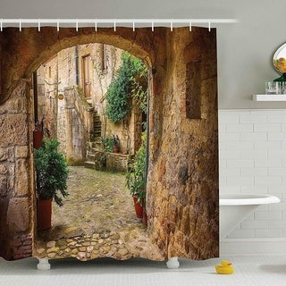 """Polyester Fabric Antique Stone Door Shower Curtain with Hooks 70""""x70"""""""