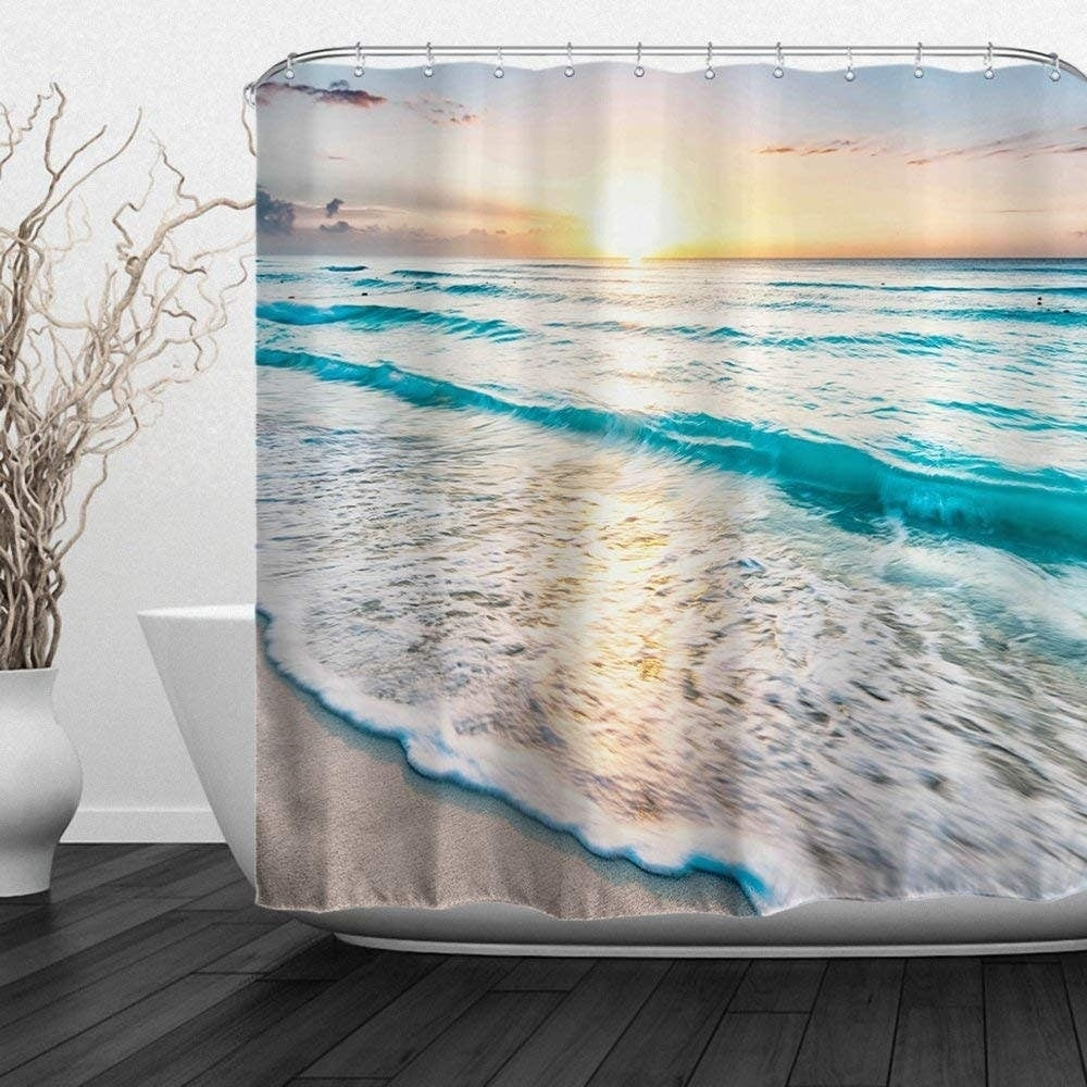 1x Waterproof Mouldproof Polyester Bath Shower Curtain Bathroom Decor With Hooks