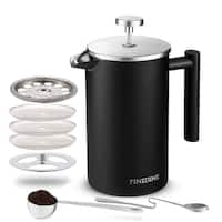 French Press Coffee Maker - (34-Oz) 18/8 Stainless Steel Double Wall Insulated Retains Heat Longer Triple-Screen Grounds Filter