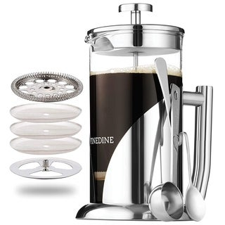 French Press Coffee Maker - 34 Ounce Glass Beaker, Triple Filtered