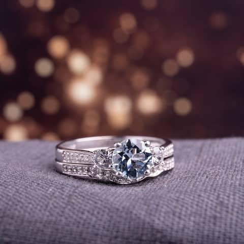 Miadora 10k White Gold Aquamarine Created White Sapphire 1/7ct TDW Diamond 3-stone Bridal Ring Set