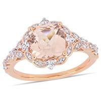 Miadora 14k Rose Gold Morganite White Sapphire & Diamond Vintage Ring