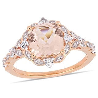 Miadora 14k Rose Gold Morganite White Sapphire & Diamond Vintage Ring