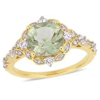 Miadora 14k Yellow Gold Green Amethyst White Sapphire & Diamond Vintage Ring