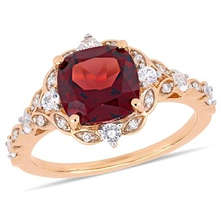 Miadora 14k Rose Gold Garnet White Sapphire & Diamond Vintage Ring