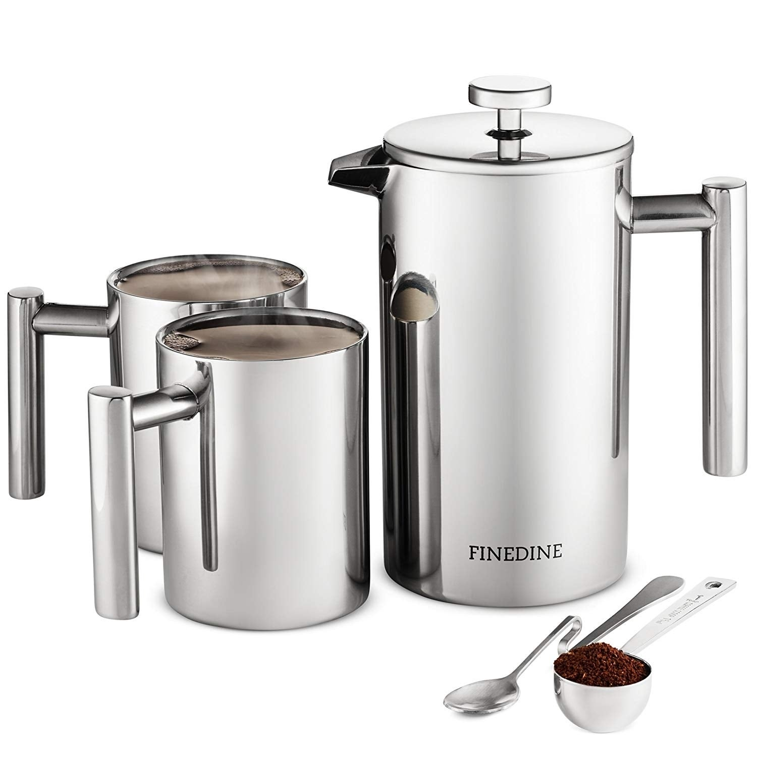 French Press Coffee Maker Set 5 Pieces Stainless Steel Double Wall Coffee Press 34 Oz With 2 Coffee Mugs Spoon And Scoop Overstock 22972092