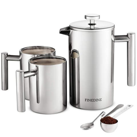 French Press Coffee Maker Set - 5-pieces Stainless Steel Double Wall Coffee Press 34 oz. with 2 Coffee Mugs, Spoon and Scoop