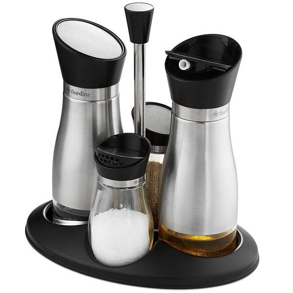 Oil And Vinegar Salt Pepper Cruet Set 5 Piece Durable Gl Stainless