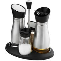 Oil and Vinegar Salt & Pepper Cruet Set - 5 Piece - Durable Glass Stainless Steel Bottle Set with Caddy Twist Open/Close Tops,