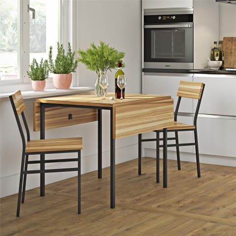 Avenue Greene Sinclair Natural 3-Piece Drop-leaf Wood and Metal Table and Chair Set