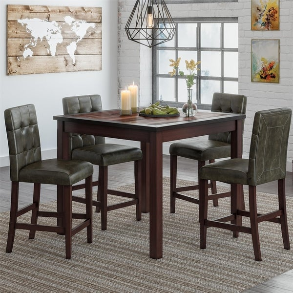 Gracewood Hollow Betancourt Espresso 5-piece Counter-height Dining Set