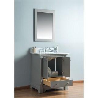 Alya Bath Olivia White Wood and Marble 30-inch Single-sink Bathroom Vanity
