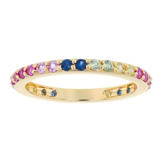 14k Yellow Gold 9/10ct. TW Rainbow Sapphires and Rubies Eternity Band Ring