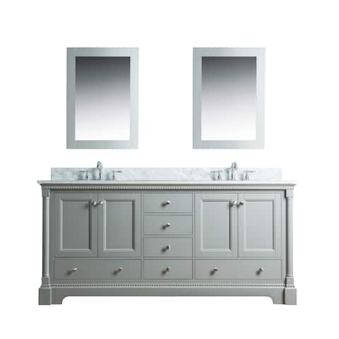 Olivia 60 in. Double Bathroom Vanity in Gray with Carrera Marble Top and No Mirror