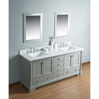 Alya Bath Olivia Grey Wood 60-inch Double Bathroom Vanity with Carrara Marble Top and No Mirror