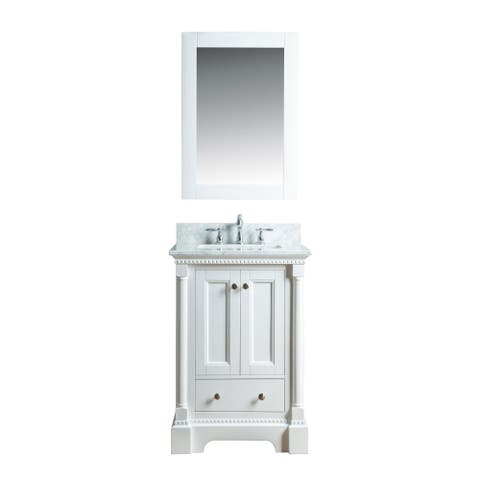 Olivia 24 in. Single Bathroom Vanity in White with Carrera Marble Top and No Mirror