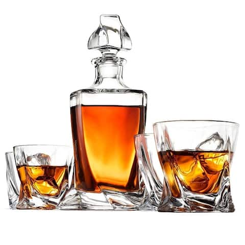High-End 5-Piece Glass Whiskey Decanter Set