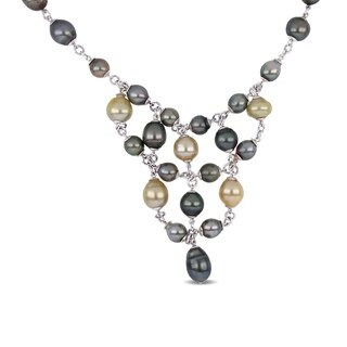 Miadora Sterling Silver Natural Shape Cultured Tahitian Golden South Sea Pearl Necklace (9-12 mm)