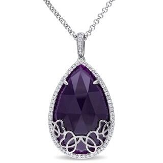 Miadora Sterling Silver Purple Chalcedony 5/8ct TDW Diamond Teardrop Necklace