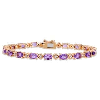 Link to Miadora Rose Plated Sterling Silver Amethyst Diamond Tennis Bracelet Similar Items in Bracelets