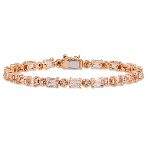Miadora Rose Plated Sterling Silver Simulated Morganite and Diamond Tennis Bracelet