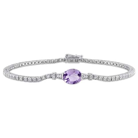 Miadora Sterling Silver Amethyst Created White Sapphire Station Tennis Bracelet