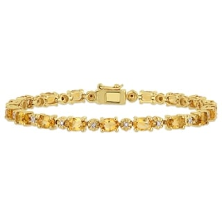 Link to Miadora Yellow Plated Sterling Silver Citrine and Diamond Tennis Bracelet Similar Items in Bracelets