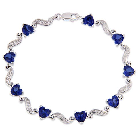 Miadora Sterling Silver Heart-Cut Created Blue Sapphire and Diamond Tennis Bracelet