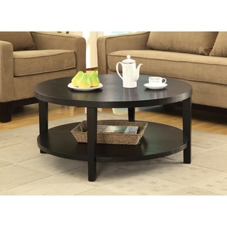 "Merge 36"" Round Coffee Table in Black Finish"