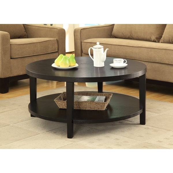 """Merge 36"""" Round Coffee Table in Black Finish"""