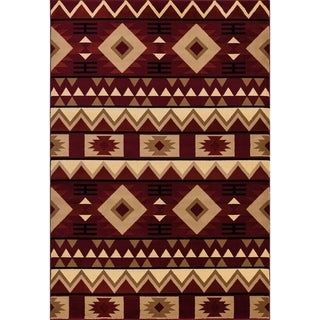 GAD Cottage Collection Red Cream Southwestern/Lodge Area Rug