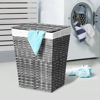 Seville Classics Handwoven Lidded Laundry Hamper with Canvas Liner, Granite Gray