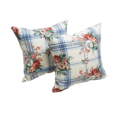 Blazing Needles 18-inch Rose Garden Indoor/Outdoor Throw Pillow (Set of 2)