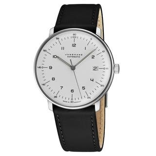 Junghans Men's 027/4700.00 'MaxBill Automatic' Silver Dial Black Leather Strap Self-Winding Watch
