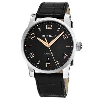 Mont Blanc Men's 110337 'Star' Black Dial Black Leather Strap Swiss Automatic Watch