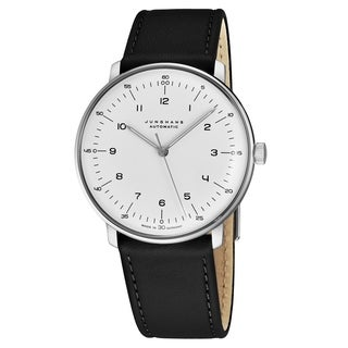 Junghans Men's 027/3500.00 'MaxBill Automatic' Silver Dial Black Leather Strap Self-Winding Watch