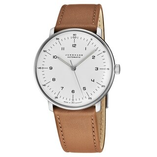 Junghans Men's 027/3502.00 'MaxBill Automatic' Silver Dial Beige Leather Strap Self-Winding Watch