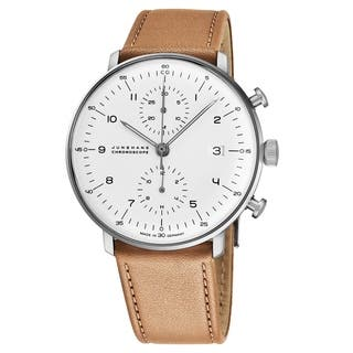 9a7e97a75 Junghans Men's 027/4502.00 'MaxBill Chronoscope' Silver Dial Beige Leather  Strap Date Self