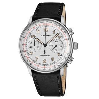 Junghans Men's 027/3380.00 'Meister Telemeter' Silver Dial Black Leather Strap Chronograph Self Winding Watch