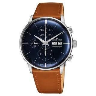 b7462cfc8 Junghans Men's 027/4526.01 'Meister Chronoscope' Blue Dial Light Brown  Leather Strap Day